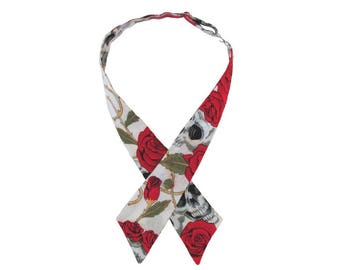 Red & Ivory Skulls and Roses Adjustable Crossover Bow Tie