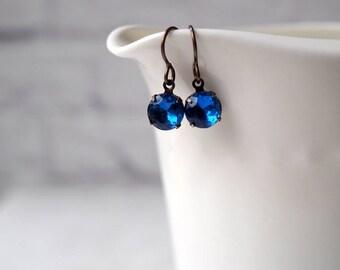 Tiny Blue Rhinestone Earrings / Round Bright Blue Vintage Glass / Brass Earwires / Estate Style Jewelry / Vintage Jewelry / Dainty Earrings