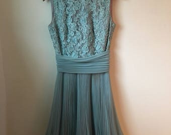 Lace Bodice Pleated Skirt 60's Party Dress Small