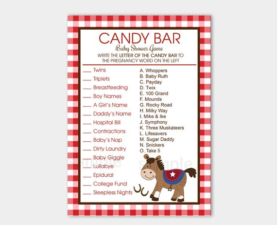 Western Horse Candy Bar Matching Boy Baby Shower Game