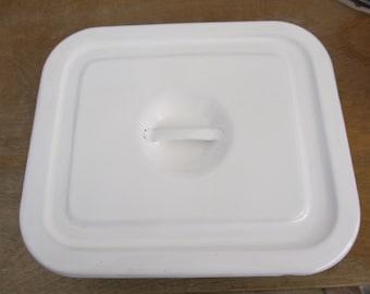 Vintage White Enamel Dish with Lid
