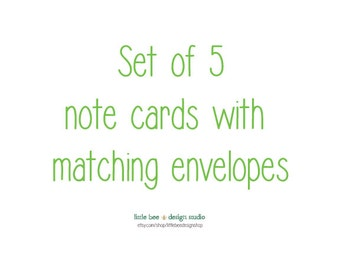 set of five of my note cards