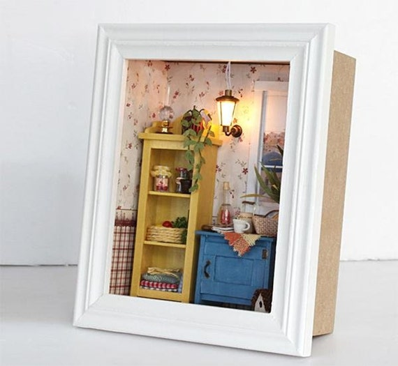 3D wooden frame LED Light miniature DIY do it yourself dollhouse ...