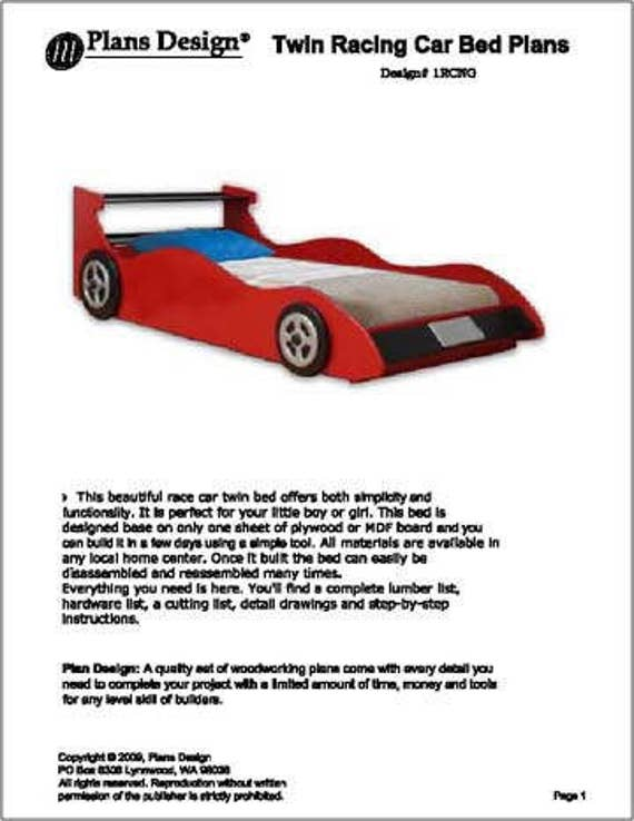 Childrens racing car twin bed woodworking plans instructions do childrens racing car twin bed woodworking plans instructions do it yourself detail drawings and step by step instructions included from plansdesign on solutioingenieria Choice Image