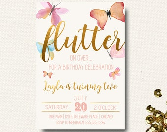 Butterfly invitation etsy butterfly invitations birthday invites for girl watercolor gold printed printable filmwisefo