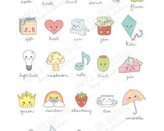 Kawaii Cute Illustrated Alphabet art print- digital file, instant download- cloud, rain drop, rainbow, strawberry