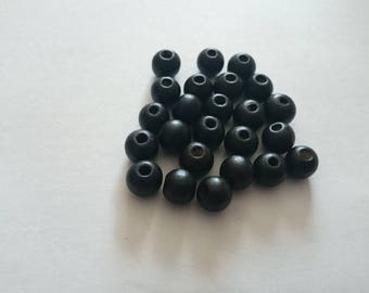 Set of 25 wood Black 8mm