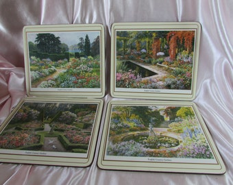 Pimpernel Placemat,, VINTAGE Made in England Placemats English Country Gardens,, VTG Placemats With Cork (4)