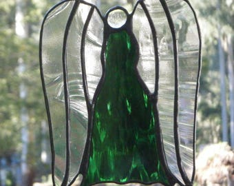 Angel in Stained Glass, Iridised Green and Clear Glass,  handmade in Australia