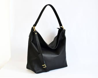 LEATHER HOBO Bag, Black Leather bag, Leather tote bag, Women leather purse, Oversize Leather Hobo Bag, Bag with Zipper - BERLIN -