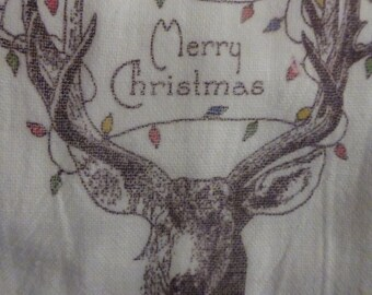 Cotton Flour Sack Towel - Christmas Towel - Kitchen towel - Hostess Gift - dish towel - 100% cotton - Deer Merry Christmas - Christmas Gift