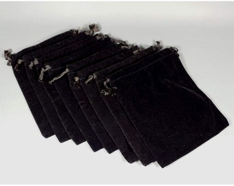 Black Velveteen Cloth Draw String Pouches, Set of 8, PRS1157