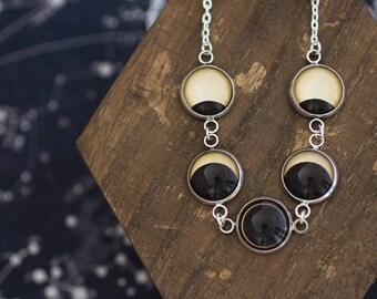 Solar Eclipse, Sun Eclipse, Sun Necklace, Solar Eclipse Necklace, Solar Eclipse Phases, Phase Necklace, Solar System Necklace, Space Jewelry