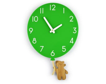 Teddy Bear & Green Balloon - Green Balloon Wall Clock - Children's Room Decor - Nursery Decor - Baby Shower Gift - Simple Wall Clock