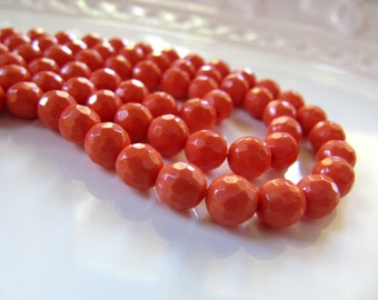 6mm Imitation Turquoise Beads in Faceted Coral Orange, 1 Strand, 15 Inches, Approx 65 Beads