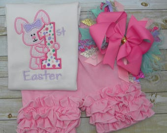 First Easter Shirt outfit w/ hairbow, Sample Sale, Easter bunny embroidery , egg hunt, girls ruffled shirt, embroidered baby take home shirt