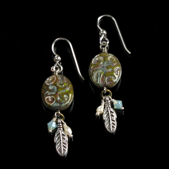 Tribal Earrings, Silver Unique Boho Feather Dangle Tribal Earrings, Native American Jewelry, Unique Gift for Women, Ethnic Earrings Gift