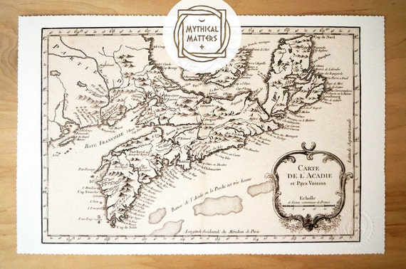 Nova Scotia Canada - Antique Map Print on Eco Bamboo paper with textured edge - Made in Canada! East Coast Maritimes Saint John PEI