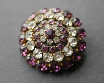 Art deco rhinestone purple and clear paste circular domed brooch