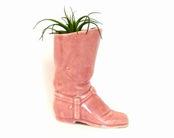 Vintage Pink Ceramic Cowboy or Cowgirl Boot Vase