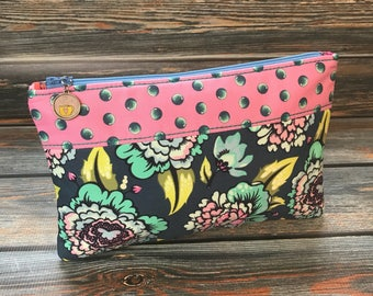 Floral Bag, Cosmetic Bag, Travel Bag, Makeup Bag, Pink, Zipper Pouch. Clutch, Floral Pouch, Tula Pink, Pencil Bag, Gifts, Aqua Polka Dot