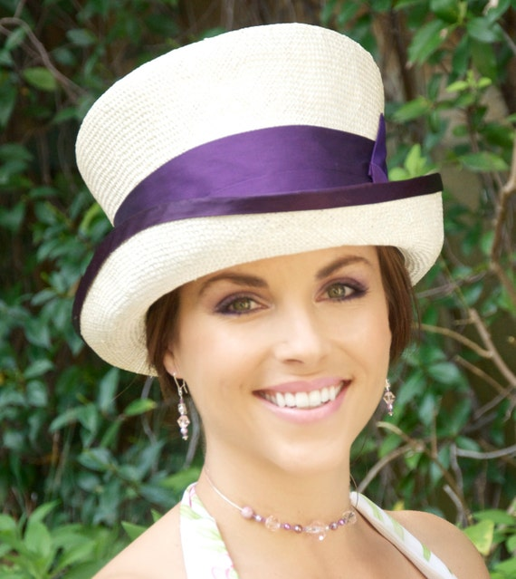 Wedding Hat, Cream Ivory Top Hat, Ascot Hat, Church Hat, Kentucky Derby Hat, Purple hat