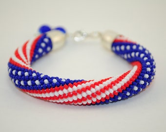 American bracelet native USA jewelry red white and blue patriotic flag america beaded friendship 4th of july independence day handmade cuff