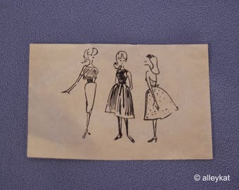 Vintage Barbie Hard to Find Busy Gal Sketch, Fashion #981, Near Mint