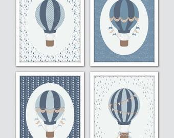 Hot Air Balloon Nursery, Baby Shower Gift, Balloon Nursery Wall Art, Baby Boy Gift, Hot Air Balloon Art, Blue Hot Air Balloon Baby Room Art