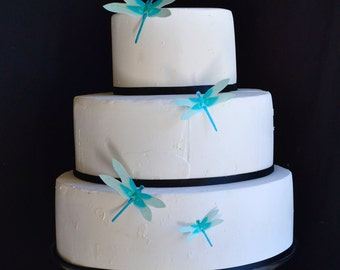 Wedding Cake Topper Edible Dragonflies - Turquoise- Wedding Cake and  Wedding Cupcake toppers - set of 30 precut