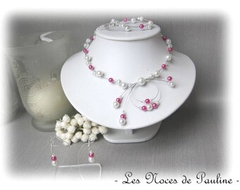 Fuchsia beaded Alice and white wedding set ' Tradition' 3 pieces