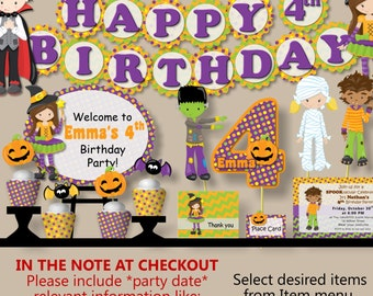 Halloween Decorations Costume Birthday Party- Invitation, Banner, Cake Topper, Cupcake, Package, Favors, Decor, Party Supplies