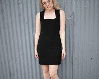 Vintage Black Square Neck Fitted Dress