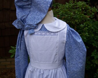 Laura Ingalls Pioneer School Dress.Pinafore and Bonnet.Little House Prairie Costume/Please read full details