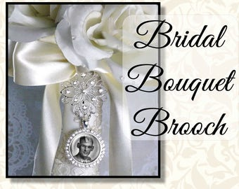 Rhinestone Bouquet Brooch Memorial Charm, Wedding Memory Charm, Bridal Keepsake, Bouquet Photo, Sparkly Bouquet Jewelry, Silver or Gold Tone