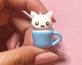 Cat Charm - Polymer Clay Cat- Cat Keychain - Kawaii Polymer Clay - Animal Charm - Cute Cat- Cute Charm - Kawaii Charm