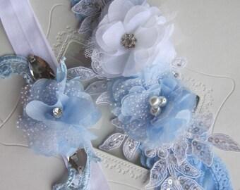 Bridal garter Set/ blue and white lace garter Wedding Garter Set,Toss Garter, accessories, weddings