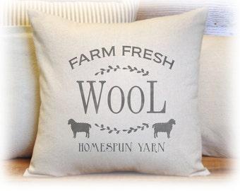 Sheep Pillow, Wool, Farm Fresh, Pillow Cover, Black Sheep