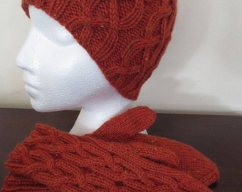 Hat and Mitts Set, Hand Knit Wool Cabled Hat Mitts, Ready To Ship
