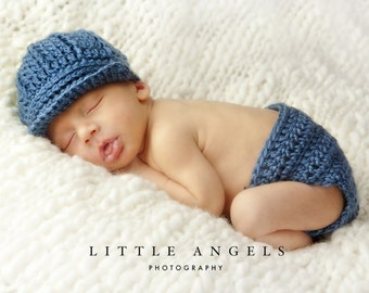Baby Boy Blue Crochet Hat and Diaper Cover Pattern -- Photography Prop (511)