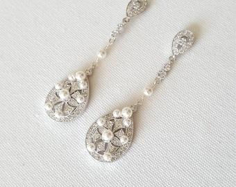 Wedding Earrings, Pearl Bridal Earrings, Wedding Jewelry, Rose Gold Wedding Earrings, Gold Wedding Earrings
