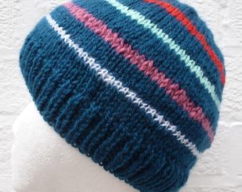Winter beanie hat boys teens girls handmade accessory 90s knit beanie blue cosy winter hat acrylic wool gift 90s striped accessory knit ooak