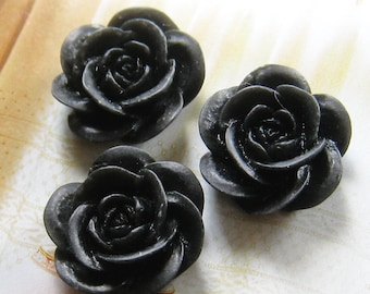 20mm - black rose cabochons - 4 pcs (CA826-C4)