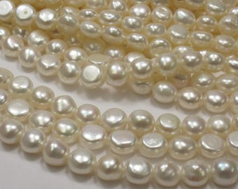 9-10 mm AAA Natural White Round Button Freshwater Pearl, Genuine Freshwater Pearls, White Freshwater Pearls, Quality Pearl  (05