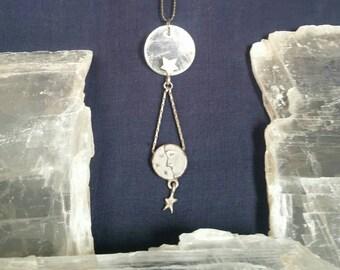 Crystal Selenite Necklace / Bridesmaid Gift Full Moon Jewelry / Healing Crystal Moon Pendant / Dainty Necklace Crystal Moon Star Necklace