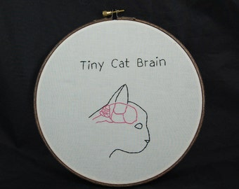 Tiny Cat Brain Embroidered Hoop Art