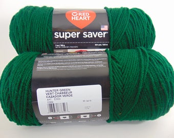 Hunter Green -  Red Heart Super Saver yarn 100 % acrylic worsted weight - 1804