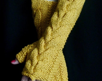 Fingerless Gloves Golden Yellow Cabled Arm Wrist Warmers, Extra Long and Soft