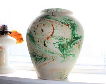 """Large 13"""" Nemadji Pottery Vase Swirl Pattern Vintage Southwestern Decor"""