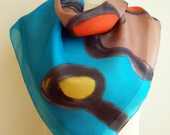 Hand painted Silk Mini - 27.5x27.5  (70 x 70 cm) Hand painted Silk scarf. Silk mini-scarf . Woman scarf.  Silk Scarf  abstract style
